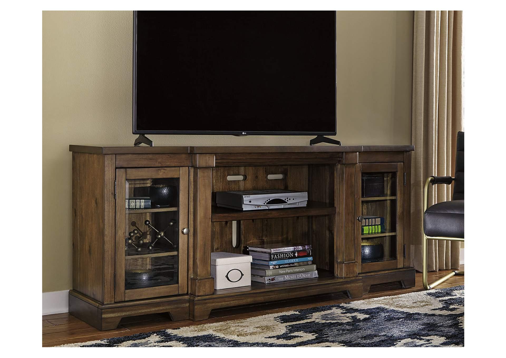 flynnter medium brown xl tv stand overstock furniture langley park woodbridge alexandria lanham