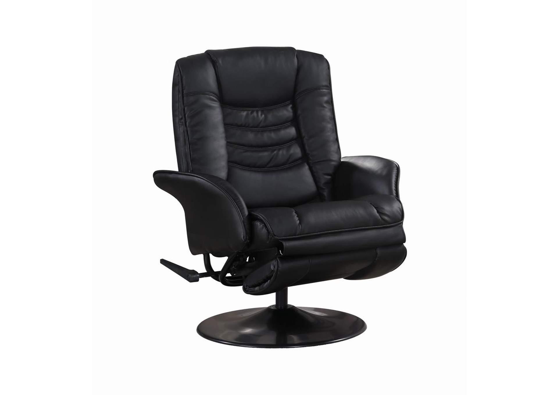 Eerie Black Casual Black Faux Leather Swivel Recliner 5th Avenue Furniture Mi