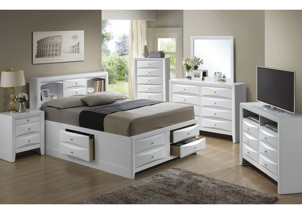 White Queen Storage Bookcase Bed Dresser Mirror Home Furnishings Depot Ny