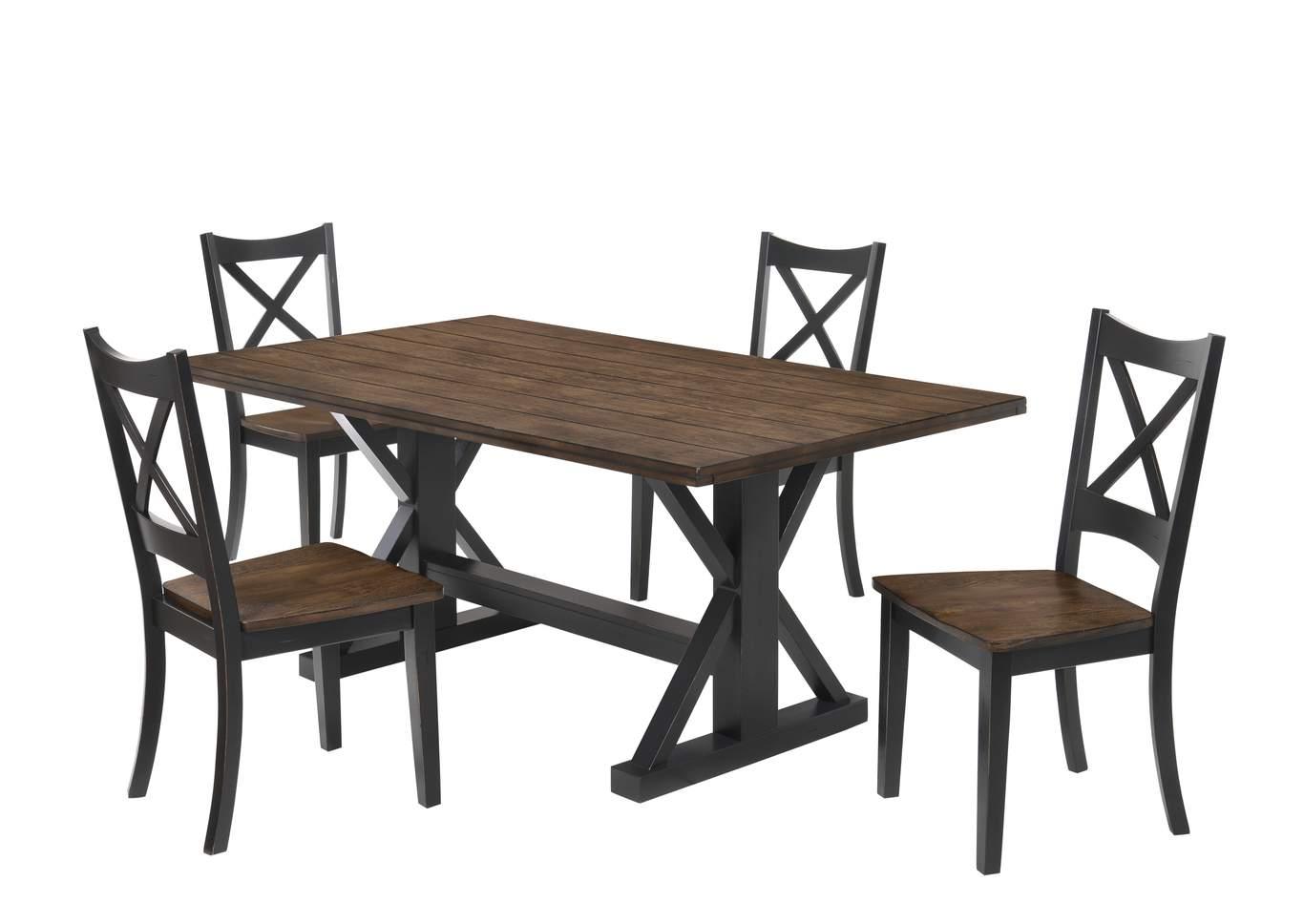 5015 Dining Table Black Rustic Oak Furniture City Dayton