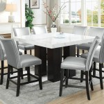 Camila Brown Square Counter Marble Top Dining Set W 8 Chairs Silver Pu Ivan Smith