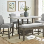 Grayson Grey Marble Top Counter Dining Set W 4 Chairs Bench Maverick Wholesale Furniture