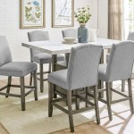 Grayson Grey Marble Top Counter Dining Set W 6 Chairs Ivan Smith