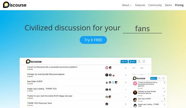 Discourse free forum softwares