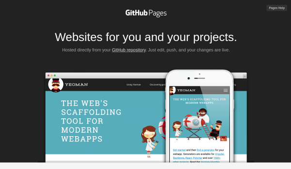 Github Pages free static site hosting