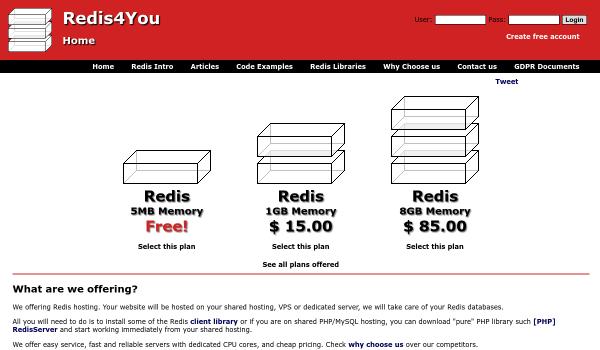 Redis4you free redis hosting