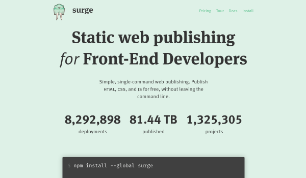 Surge.sh free static site hosting