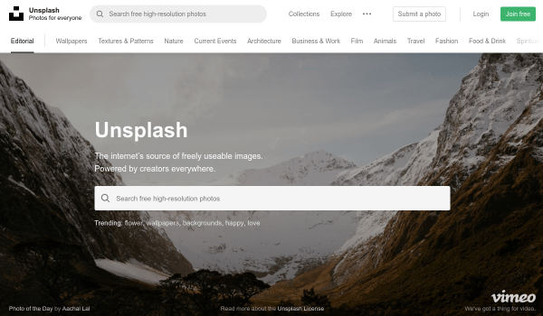 Unsplash free stock images