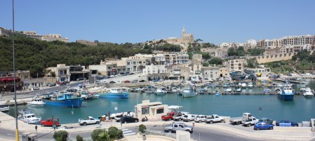 getting off the ferry in Gozo, Malta