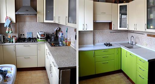 обновить кухонный гарнитур Смена дверей шкафов.