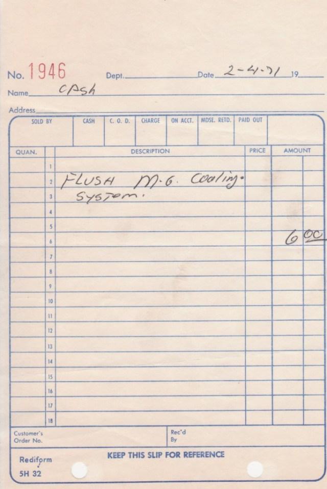 MGB coolant flush on February 4, 1971