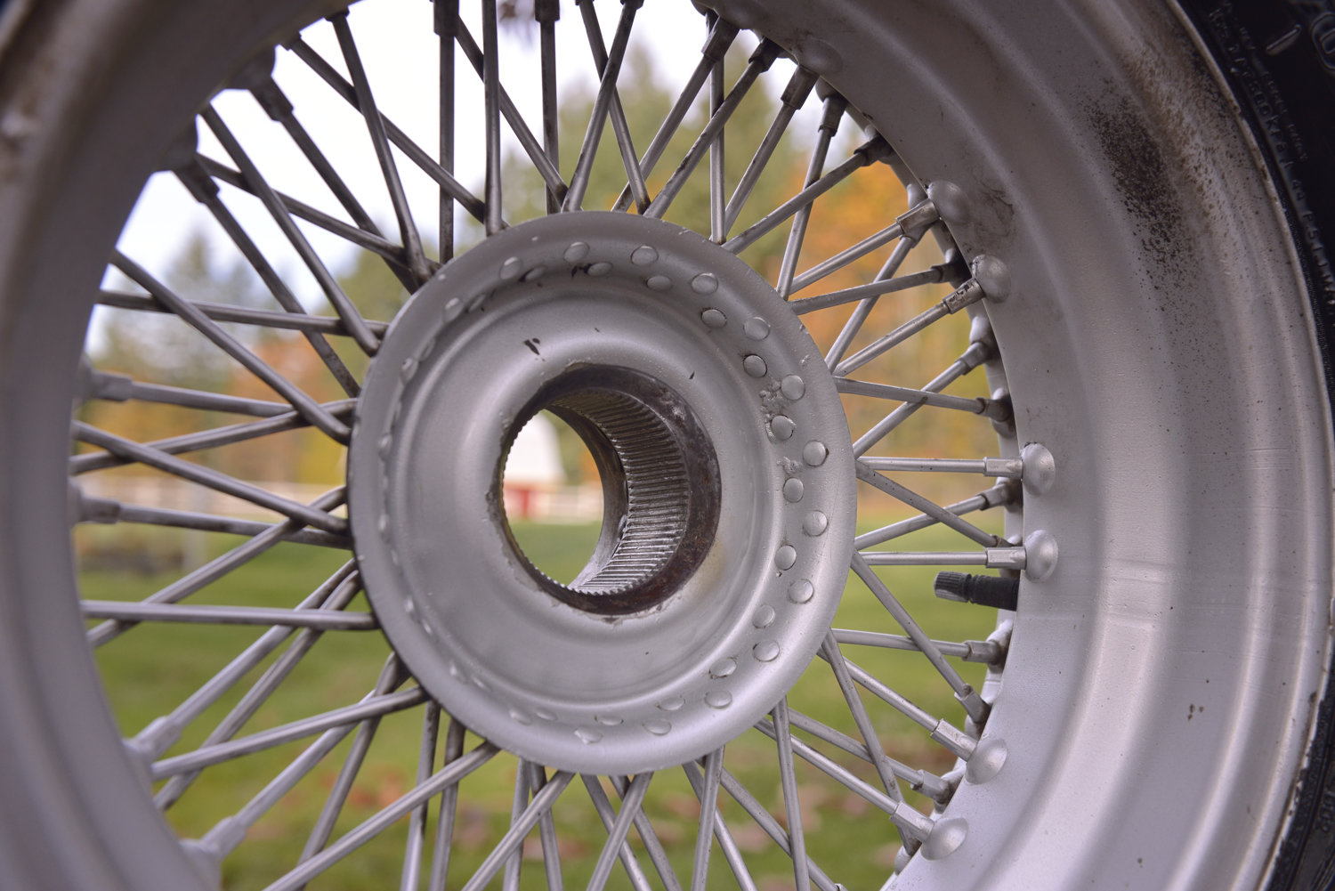 MGB GT wire rim after a quick cleaning job