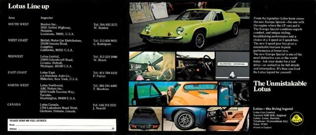 Lotus Europa Special Brochure