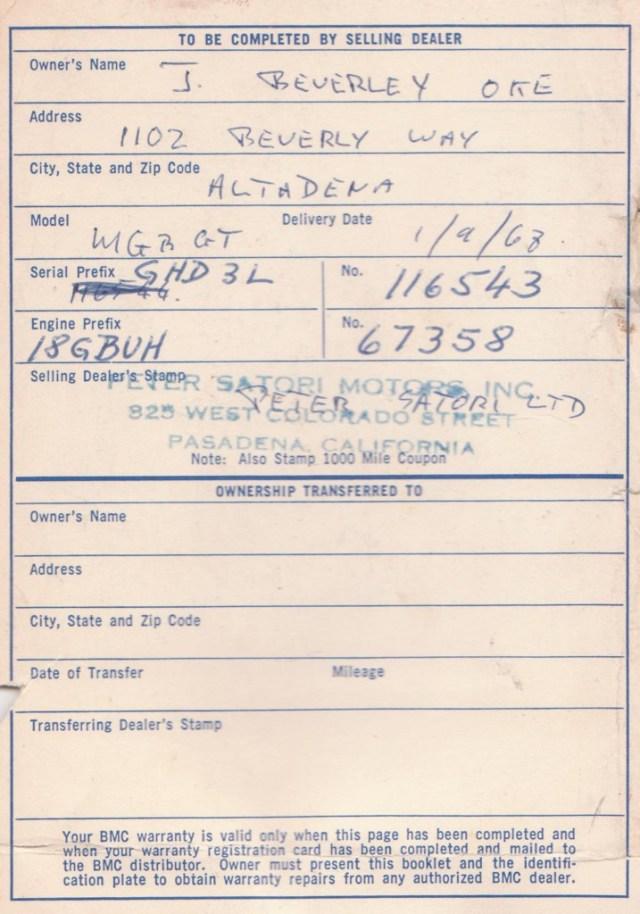 1967 MGB GT Warranty