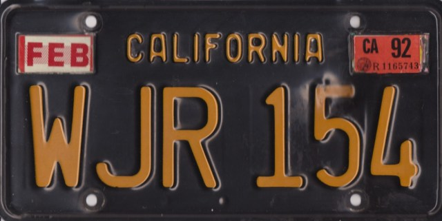 1967 MGB GT California rear license plate