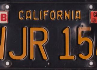 1967 MGB GT California rear license plate