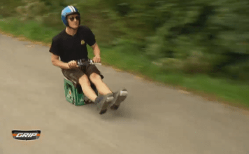 Crazy German guy riding a motorized case of beer