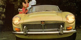 MG MGC roadster with very strange looking models