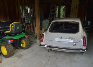 MGB GT and John Deere lawn tractor