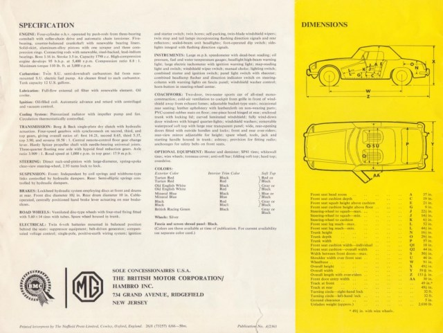 1967 MG MGB Roadster brochure specification page