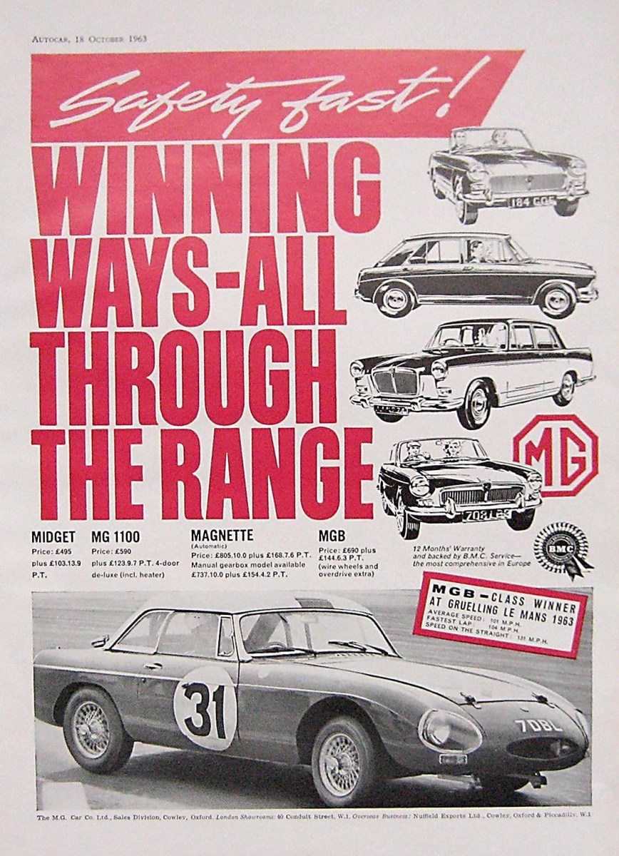 MG MGB at Le Mans in the early 60's