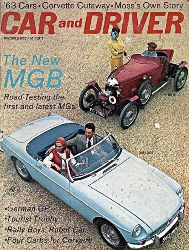 1963 MGB on the cover of Car and Driver magazine, November 1962