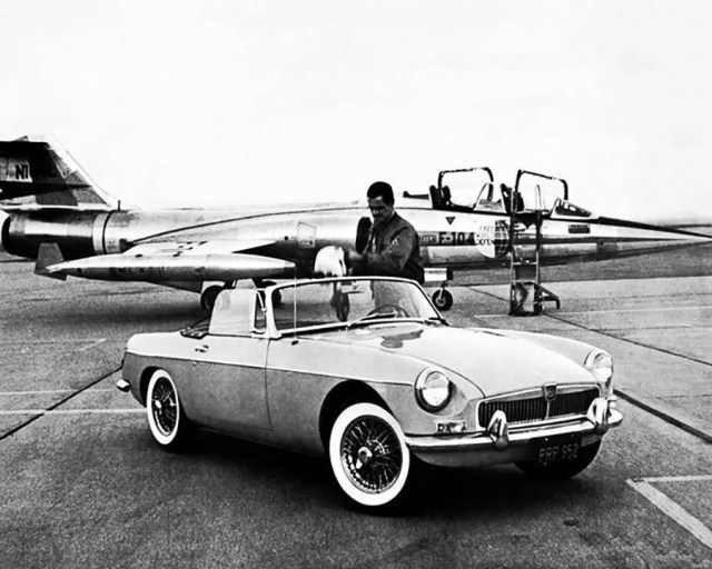 1963 MG MGB F-104 Phantom Fighter Jet Factory Photograph