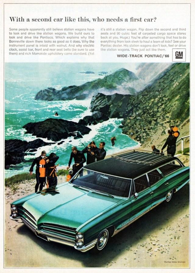1966 Pontiac Bonneville Station scuba ad