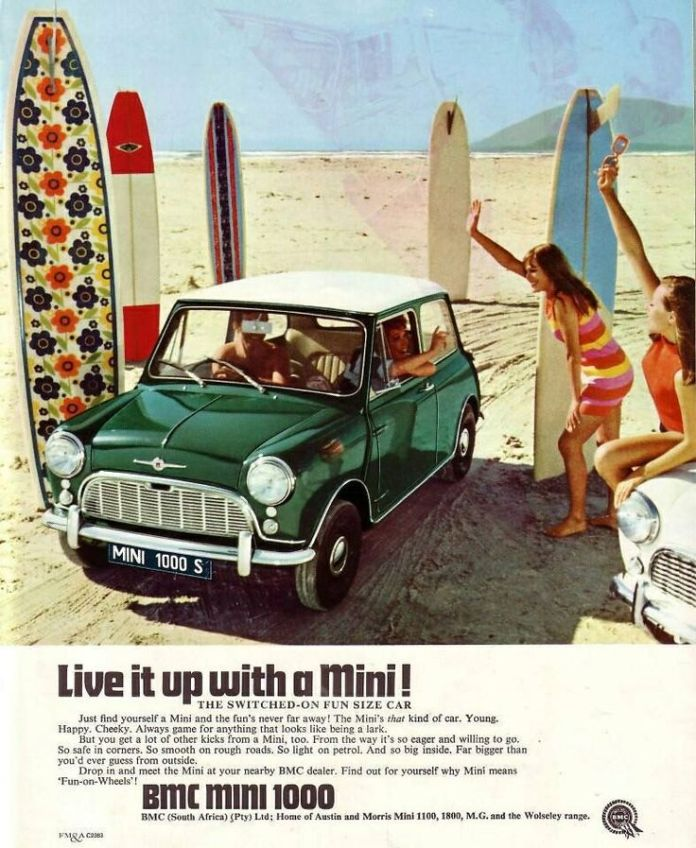 BMC Mini ad with surfboards and girls
