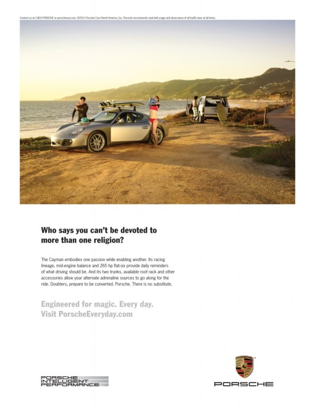 Porsche Cayman surfing ad