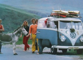 Volkswagen ad with surfboards and donkey