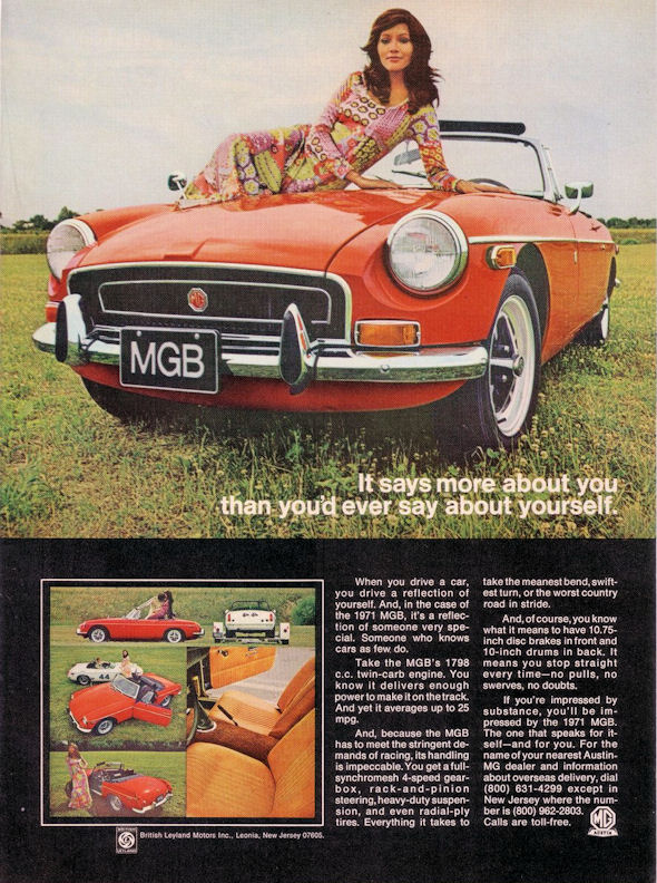 1971 MGB Roadster with women on hood
