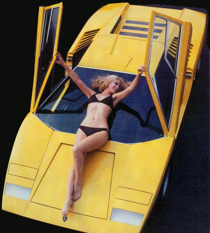 Lamborghini- Countach with hot bikini chick