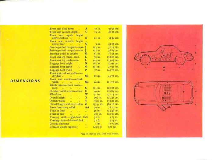MG MGB Roadster 1962 brochure - dimensions