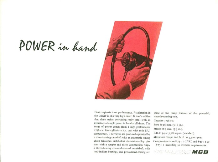 MG MGB Roadster 1962 brochure interior