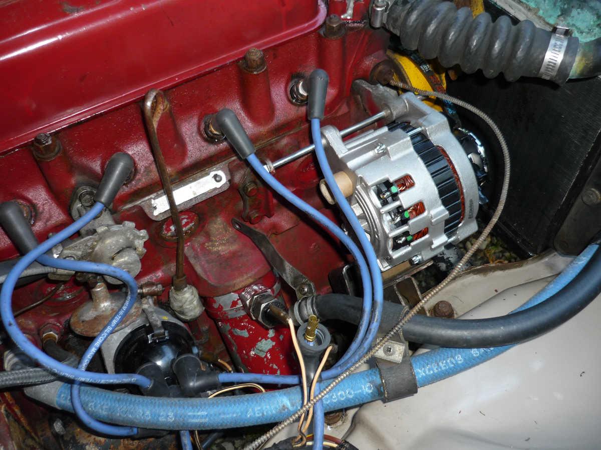 AC Delco alternator test fit in 1967 MGB GT