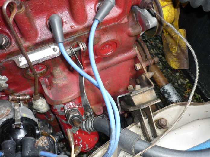MGB engine with coil and generator removed