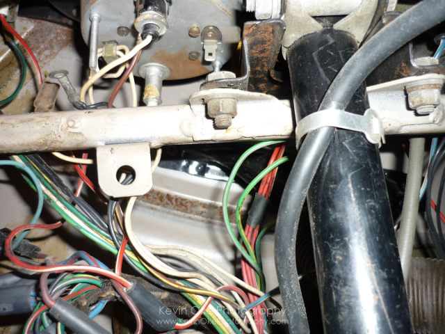 Rats nest of wiring under the 1967 MGB GT dash
