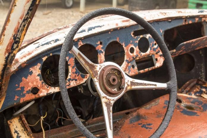 Porsche 356B wreck interior