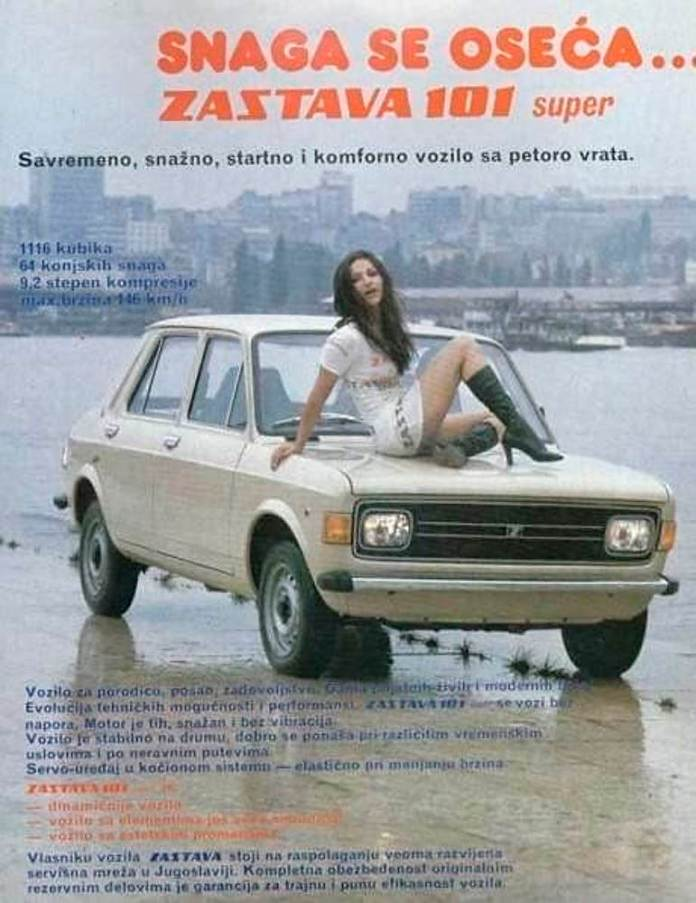 Zastava 101 with Russian chick on hood