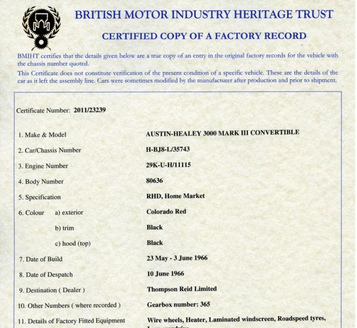 British Motor Industry Heritage Trust Heritage Certificate