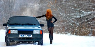 Lada VAZ girl in the snow
