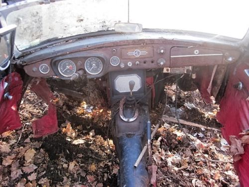 MGB Roadster interior. Looks like raccoons and squirrels have had a nice home.