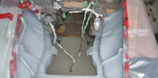Filler primer in the MGB GT engine compartment