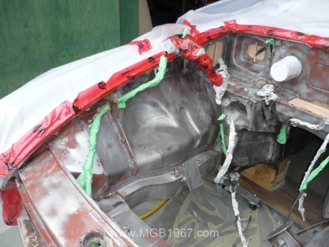 Sand blasted MGB GT engine bay
