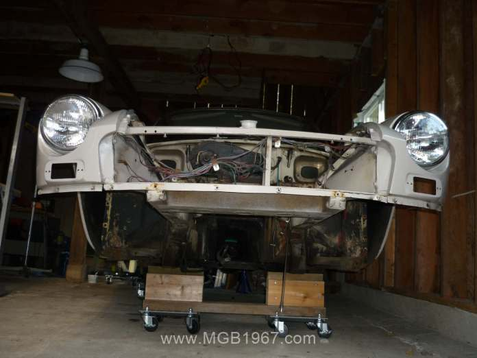 The MGB GT looks funny from this angle