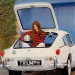 Triumph racing gal in trunk