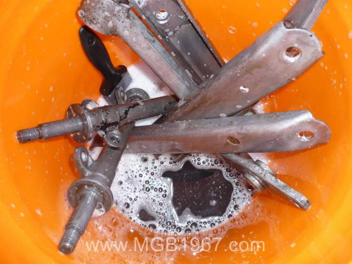 Cleaning MGB GT parts