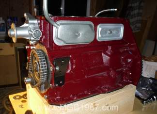 MGB engine tappet covers installed