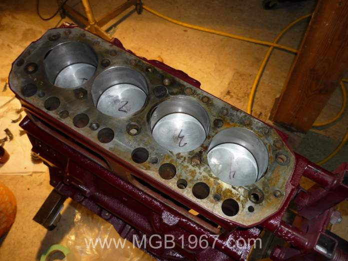 MGB pistons are installed